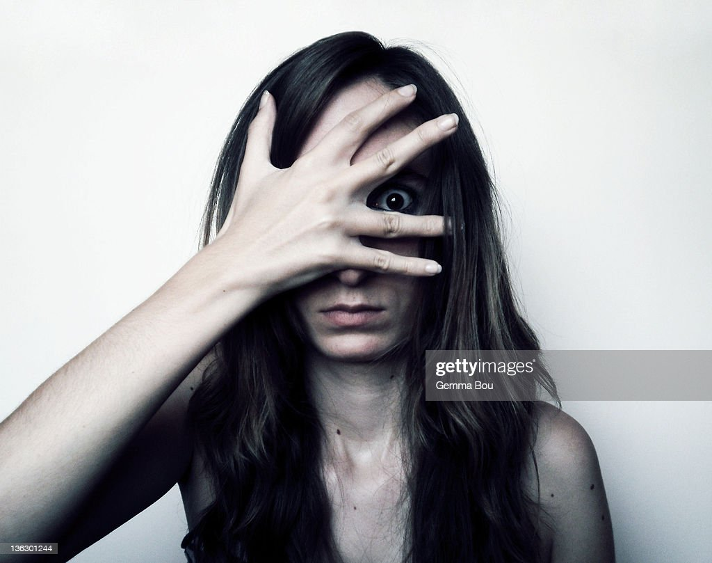 Portrait of girl with hand on her face : Stock Photo
