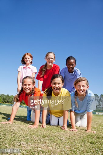 Portrait of girls outdoors