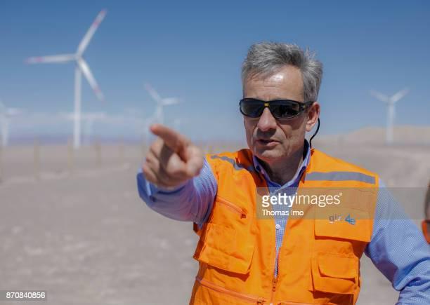 Portrait of GIZ Program Manager Energy Rainer Schroeer in front of a wind farm in the Atacama Desert on October 17 2017 in Atacama Desert Chile
