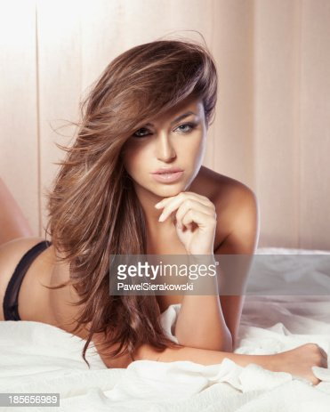 Portrait Of Gorgeous Brunette Lady Looking At Camera Stock Photo