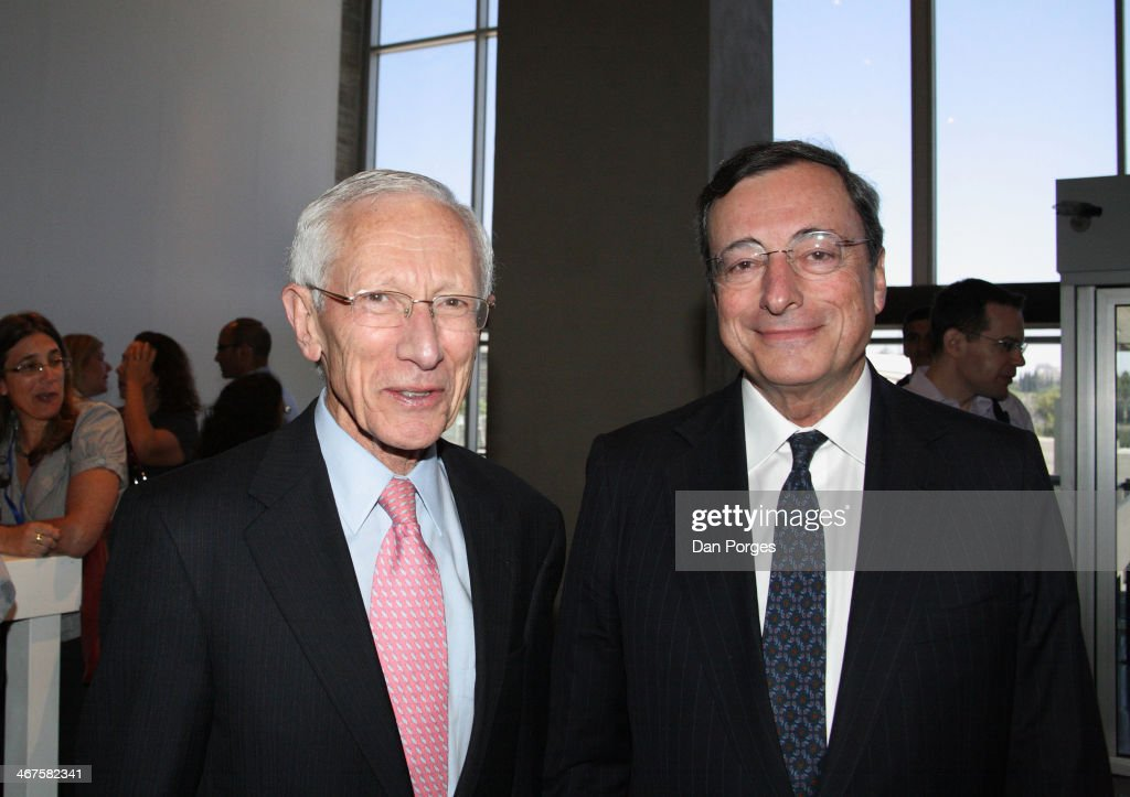 Portrait of Governor of the Bank of Israel Professor <a gi-track='captionPersonalityLinkClicked' href=/galleries/search?phrase=Stanley+Fischer&family=editorial&specificpeople=233518 ng-click='$event.stopPropagation()'>Stanley Fischer</a> (left) and President of the European Central Bank <a gi-track='captionPersonalityLinkClicked' href=/galleries/search?phrase=Mario+Draghi&family=editorial&specificpeople=571678 ng-click='$event.stopPropagation()'>Mario Draghi</a> as they pose together at a reception in the Israel Museum during a Bank of Israel conference, Jerusalem, Israel, June 18, 2013.