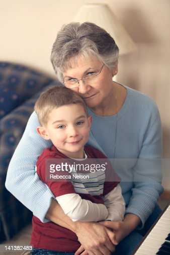 Portrait of grandmother and grandson : Photo