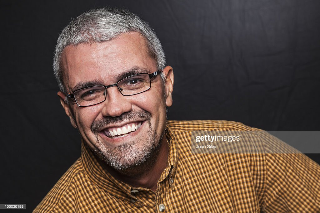Portrait of grey hair man smiling : Stock Photo