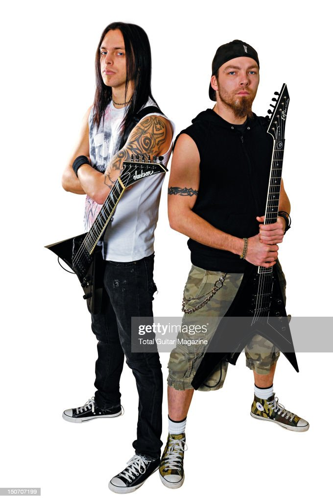 This image has been digitally manipulated) Portrait of guitarists <a gi-track='captionPersonalityLinkClicked' href=/galleries/search?phrase=Matt+Tuck&family=editorial&specificpeople=583699 ng-click='$event.stopPropagation()'>Matt Tuck</a> (L) and Michael Paget of Welsh heavy metal group Bullet For My Valentine, taken on January 14, 2008.
