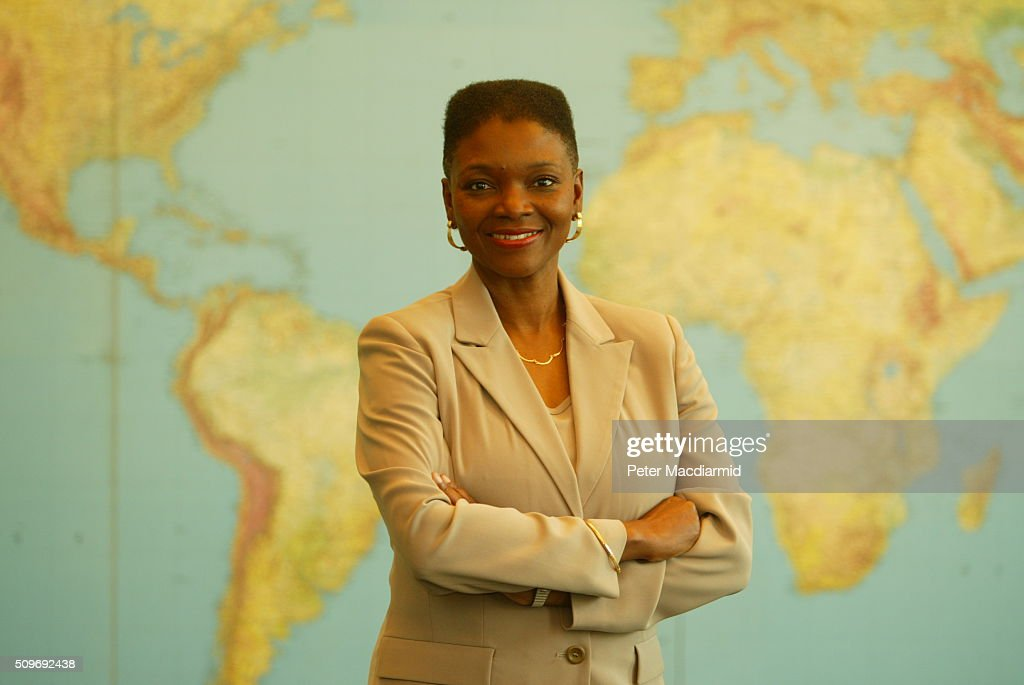 Portrait of Guyaneseborn British politician and diplomat Valerie Amos Baroness Amos as she poses in front of a world map at the Foreign and...