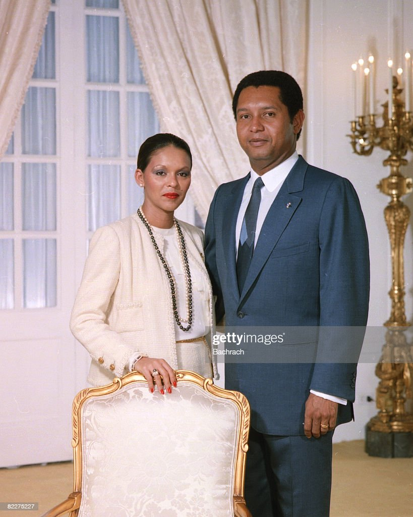 Portrait of Haitian President <a gi-track='captionPersonalityLinkClicked' href=/galleries/search?phrase=Jean-Claude+Duvalier&family=editorial&specificpeople=2596261 ng-click='$event.stopPropagation()'>Jean-Claude Duvalier</a> and his wife, Michele Bennett Pasquet, Port au Prince, Haiti, 1984. Known as 'Baby Doc,' Duvalier ruled Haiti from 1971 to 1986, when his regime was overthrown.