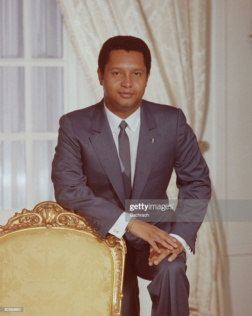 Portrait of Haitian President Jean-Claude Duvalier, Port au Prince, Haiti, 1984. Known as 'Baby Doc,' Duvalier ruled Haiti from 1971 to 1986, when his regime was overthrown.