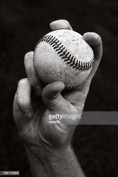 Portrait of Hand Holding Baseball, Black and White