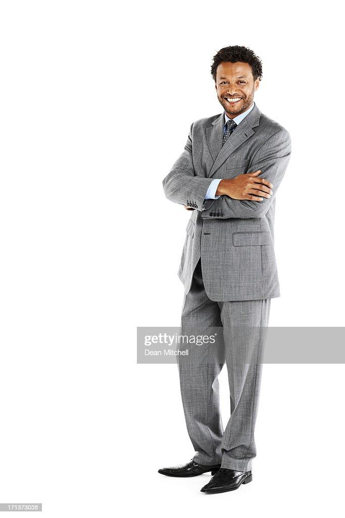 Ritratto di un bell'uomo d'affari su bianco : Foto stock