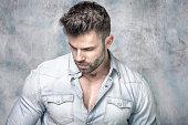 Portrait of handsome brunet man.