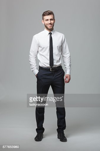 Portrait of handsome young businessman on white background. : Stock Photo