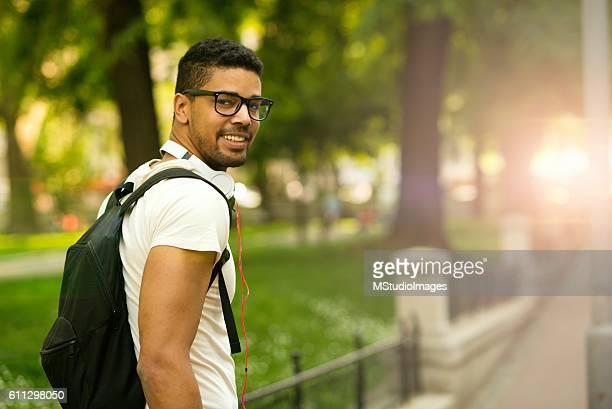 Portrait of happy African-american man.