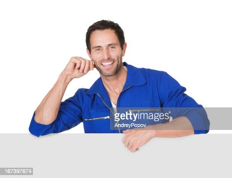 Portrait of happy automechanic : Stock Photo