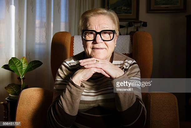Portrait of happy elderly lady sitting on the armchair