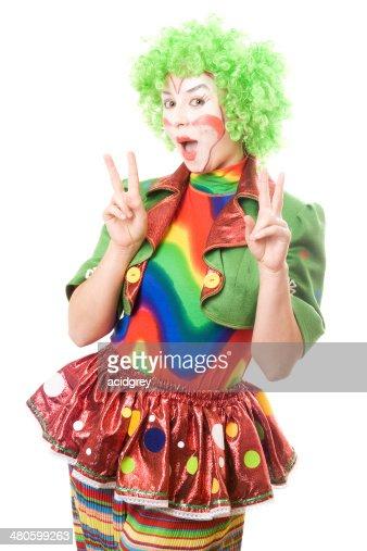 Portrait of happy female clown : Stock Photo
