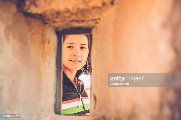 Portrait de femme heureuse de Cross-Country, Julian Alpes, Europe