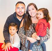 Beautiful Portrait of Happy Hispanic Family