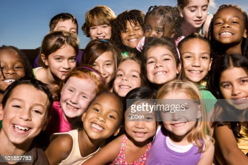 Portrait of happy kids, smiling, outdoors