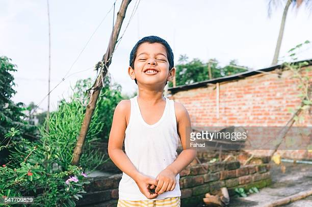 portrait of happy little boy outdoor