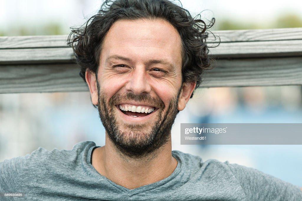 Portrait of happy man outdoors