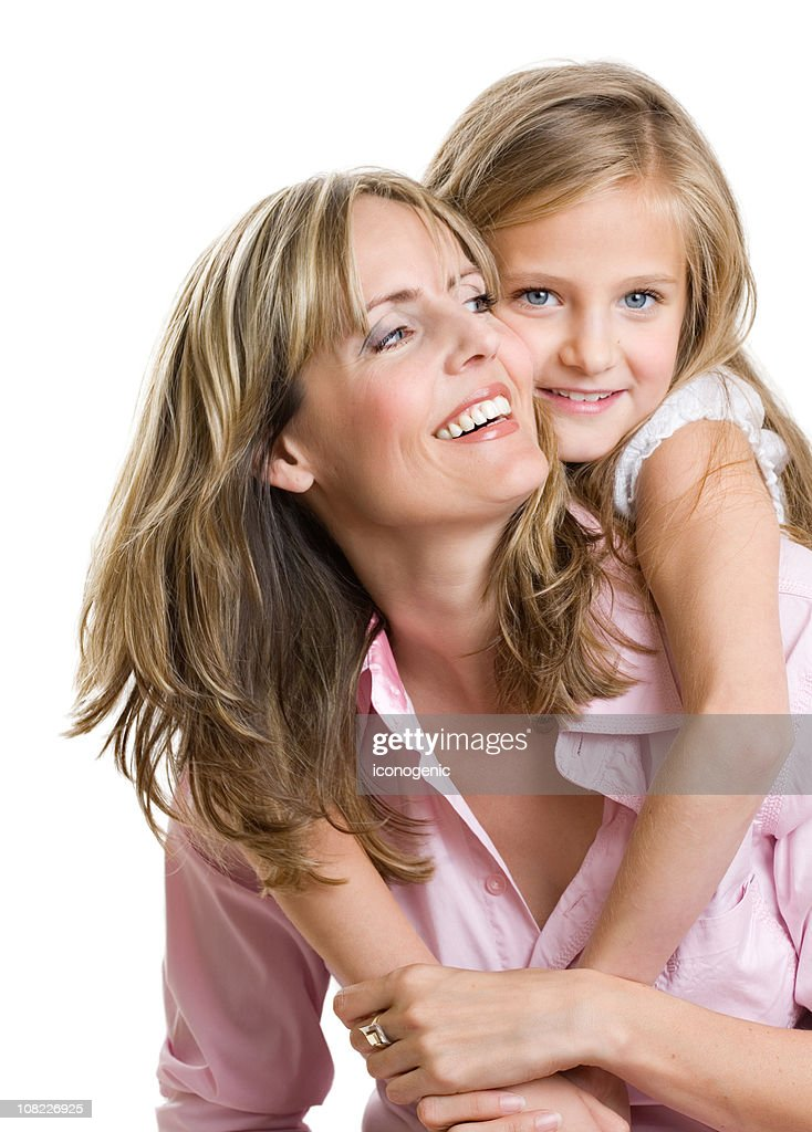 Portrait of Happy Mother and Daughter, White background : Stock Photo