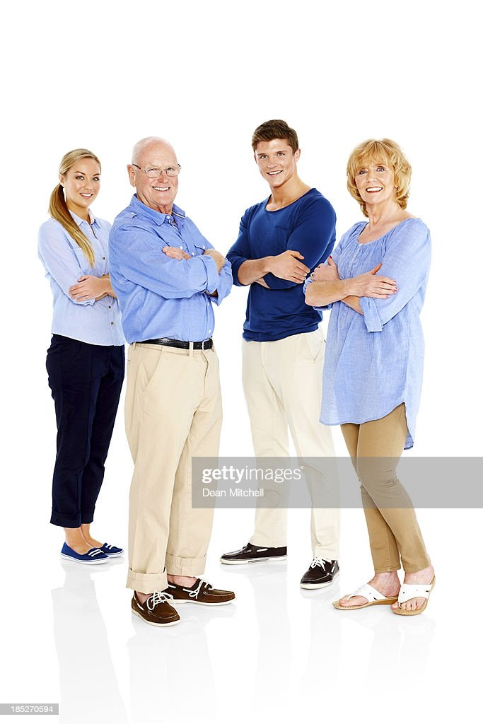 Portrait of happy people standing on white