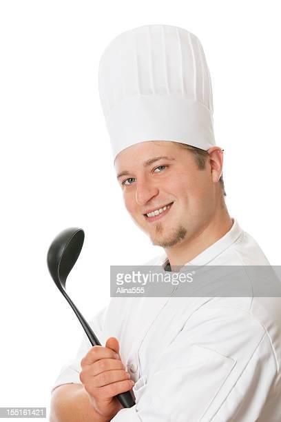 Porträt von glücklich lächelnd Koch in Köchen Hut und uniform