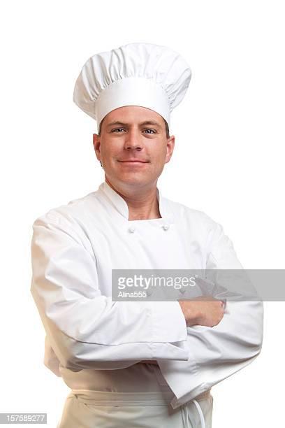 Retrato de feliz sonriendo preparado por chefs sombrero y uniforme