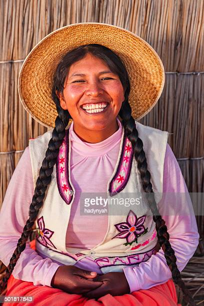 Portrait of happy woman on Uros floating island, Lake Tititcaca
