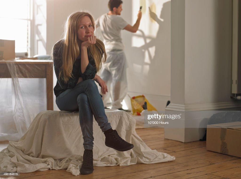 Portrait of happy women in her new home