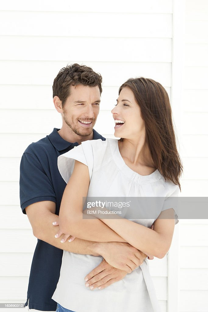 Portrait of happy young couple : Stock Photo