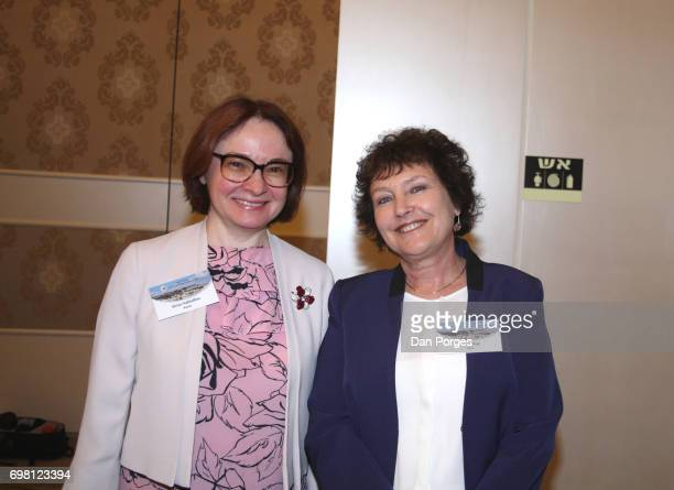 Portrait of head of the Central Bank of Russia Elvira Nabiullina and Governor of the Bank of Israel Karnit Flug as they pose together at the 36th...