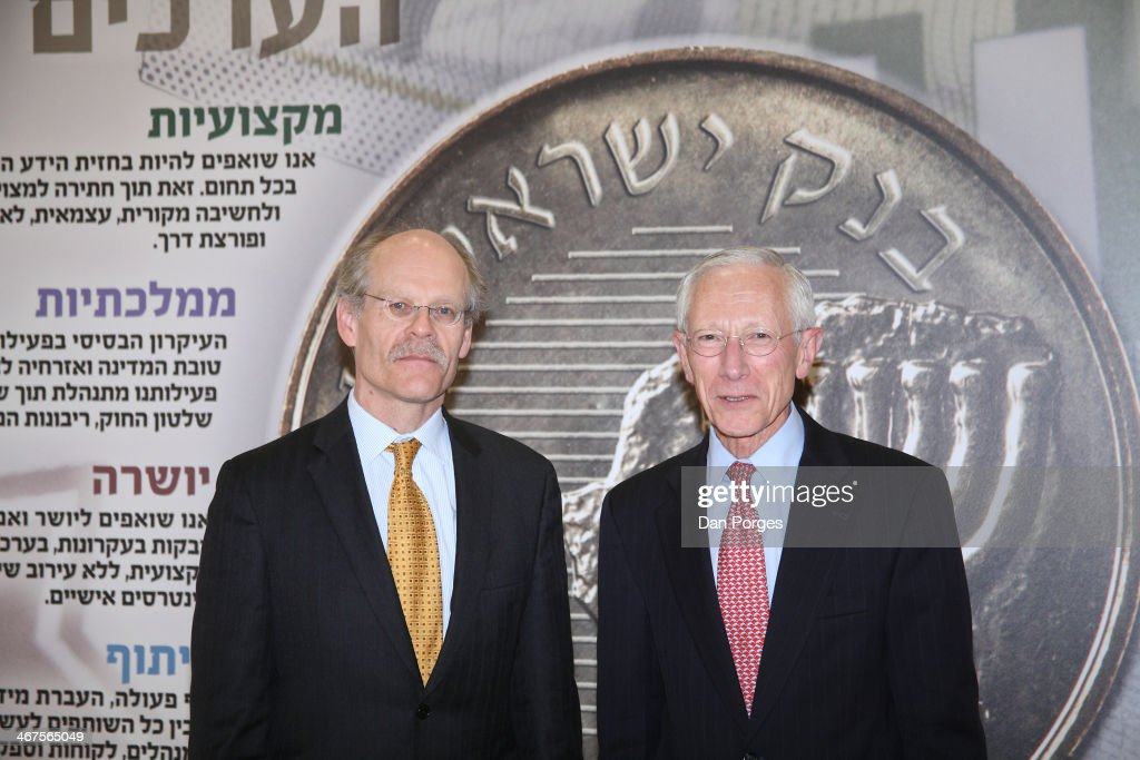 Portrait of Head of the Riksbank Stefan Ingves (left) and Governor of the Bank of Israel Professor <a gi-track='captionPersonalityLinkClicked' href=/galleries/search?phrase=Stanley+Fischer&family=editorial&specificpeople=233518 ng-click='$event.stopPropagation()'>Stanley Fischer</a> as they attend an Bank of Israel event at the International Congress Center, Jerusalem, Israel, April 21, 2010.