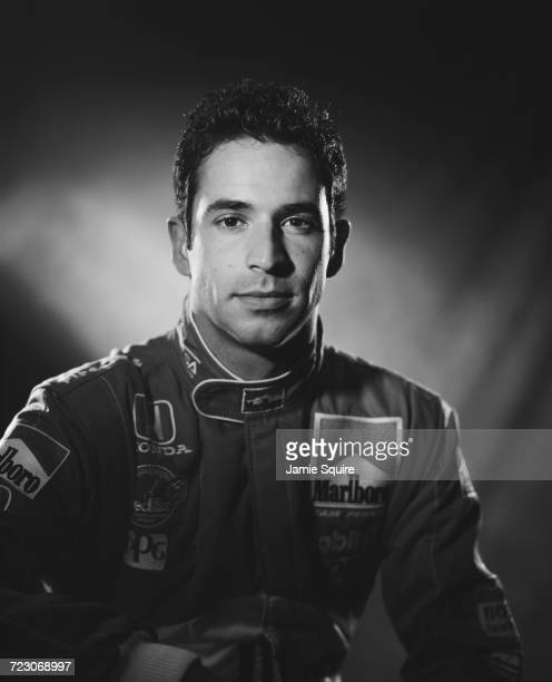 A portrait of Helio Castroneves of Brazil driver of the Team Penske Reynard 2KI Honda HRK during testing for the Championship Auto Racing Teams 2000...