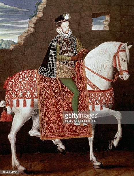 Portrait of Henry III of France on horseback also known as Henry V King of Poland and Henry III King of France Painting by a French school Chantilly...