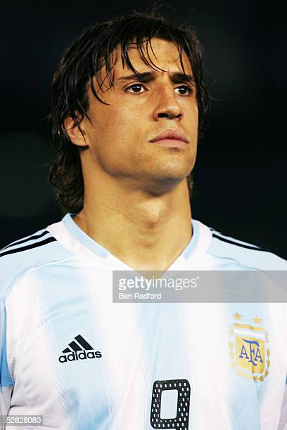 A portrait of Hernan Crespo of Argentina prior to the 2006 World Cup qualifying match between Argentina and Colombia at The River Plate Stadium on...