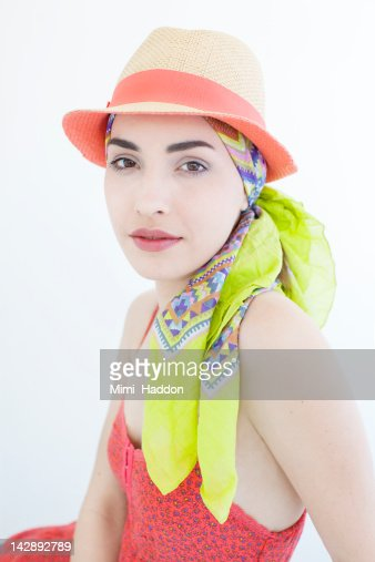 Portrait of Hip Young Woman in Hat and Scarf : Stock Photo