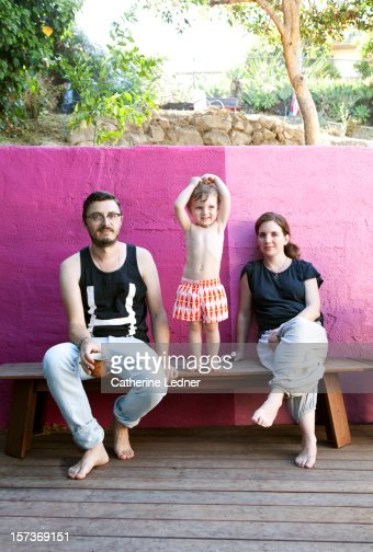 Portrait of hipster family with toddler : Stock Photo