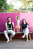 Portrait of hipster family with toddler