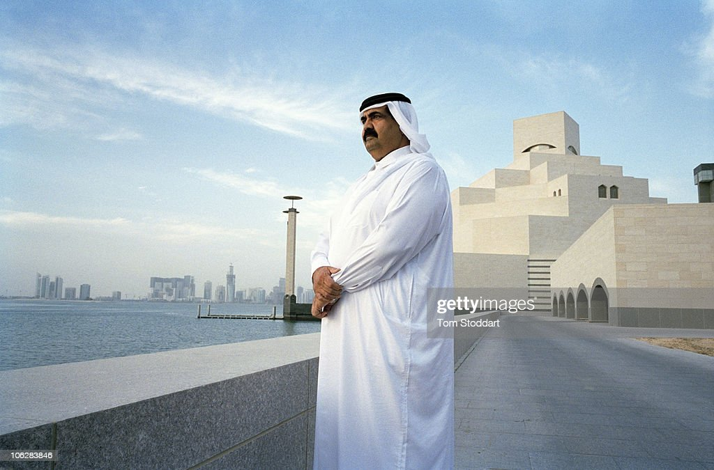 A portrait of His Highness the Emir Sheikh Hamad bin Khalifa Al-Thani outside the new Museum of Islamic Art in Doha, Qatar. The country's huge oil and gas reserves have made it one of the world's richest economies and has fuelled booming development.