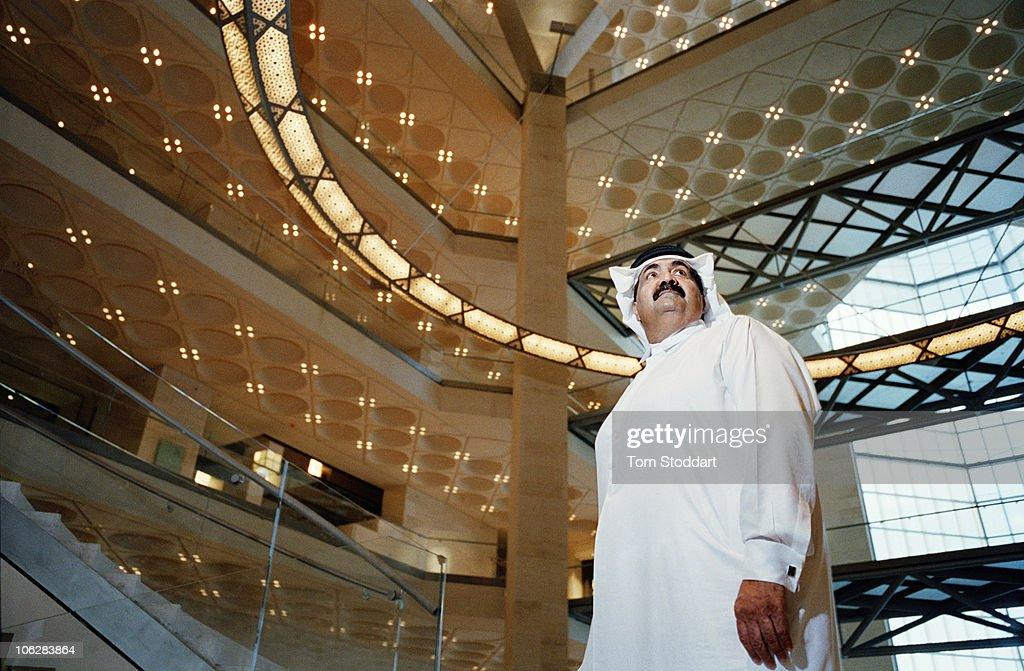 A portrait of His Highness the Emir Sheikh Hamad bin Khalifa Al-Thani inside the new Museum of Islamic Art in Doha, Qatar. The country's huge oil and gas reserves have made it one of the world's richest economies and has fuelled booming development.