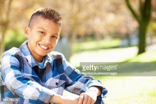 Portrait Of Hispanic Boy In Countryside : Stock Photo