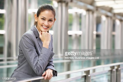 Portrait Of Hispanic Businesswoman Outside Office : Stock Photo