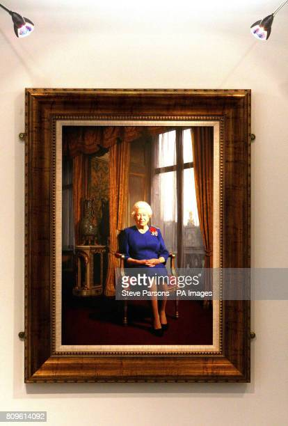 A portrait of HM Queen Elizabeth II which is being displayed at the EXPO Fine Art gallery in the Departures area of Terminal 5 at Heathrow Airport in...