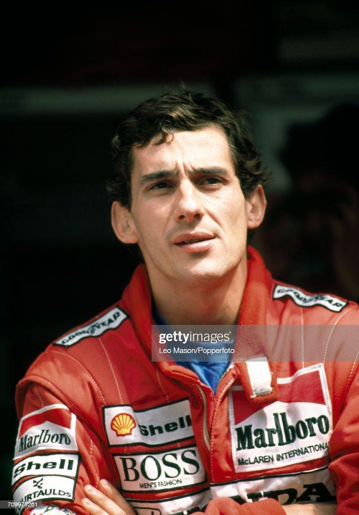 Portrait of Honda Marlboro McLaren driver Ayrton Senna (1960-1994) of Brazil, after winning the Monaco Grand Prix in Monte Carlo on 7th May 1989.