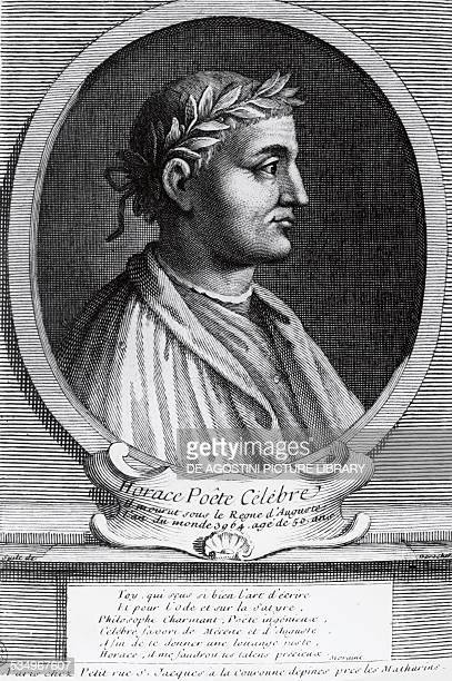 Portrait of Horace poet engraving Italy 1st century
