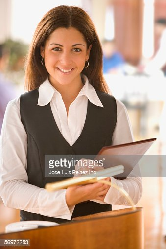 Portrait of hostess in restaurant