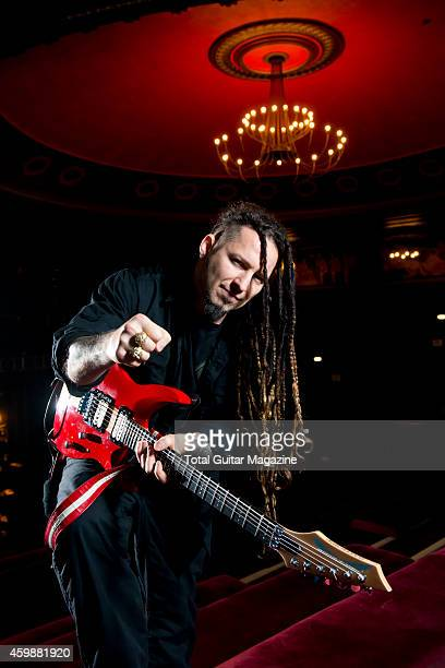 Portrait of Hungarian musician Zoltan Bathory guitarist with heavy metal group Five Finger Death Punch photographed before a live performance at The...