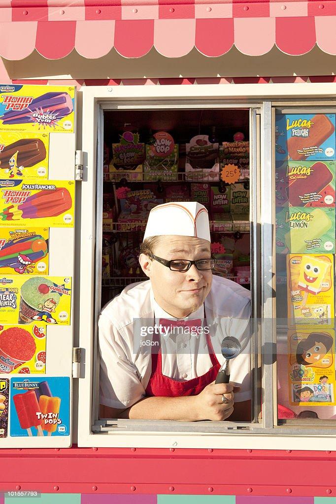 Portrait of ice cream vendor in his truck