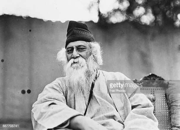 Portrait of Indian author and poet Rabindranath Tagore circa 1935